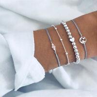 4Pcs 925 Silver Charm Hollow Map Heart Beads Opal Chain Bracelets Jewelry Set