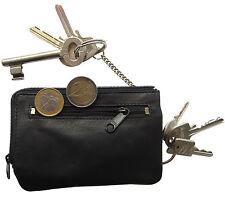 1  LEDER Doppel-Schlüsseletui  - schwarz - Schlüsselglocke Schlüsselmäppchen NEU