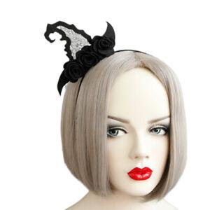 Gothic Vintage Black Witch hat Hairband Headband Halloween Party Costume ^lk