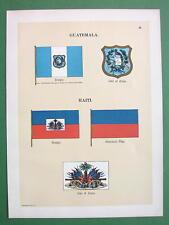 FLAGS of Guatemala & Haiti Coats of Arms - 1899 COLOR Antique Print