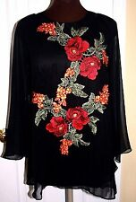 Cristina Embroidered blouse tunic S Black Flower application Long sleeve NWT$129