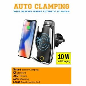 QI Automatic Clamping Wireless Car Charger Fast Charging Mount / iPhone Samsung