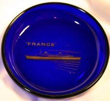 Vintage Cobalt glass Cunard Lines Ship France ashtray