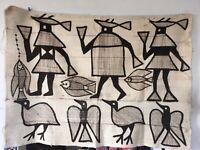 Vintage African Pictoral Mud Cloth Tapestry Senufo People Ivory Coast