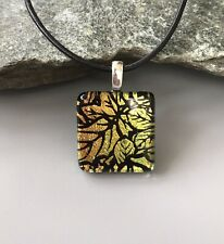 Autumn Leaves Dichroic Fused Glass Pendant Handmade w/necklace