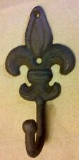 Cast Iron Fleur de Lis Wall Hook - Rustic Finish
