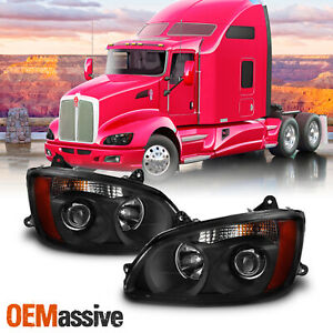 For 2008-17 Kenworth T660 OE Projector Headlights Black Housing Pair Replacement