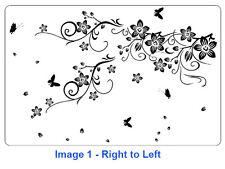 Vine Flowers with Butterflies Wall Art Vinyl Sticker, Home DIY Wall ART Decal