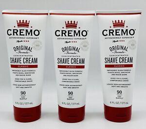 Lot of 3 Cremo Original Shave Cream, Superior Smooth Shaving Cream 6oz Each New!