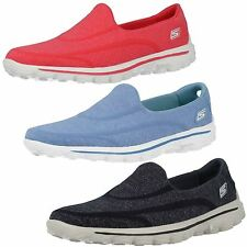 Skechers Flat (less than 0.5') Textile Upper Shoes for Women