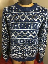 ALPS Fine Apparel for Men Moose XL Sweater Blue &White Nordic Wool Pullover EUC