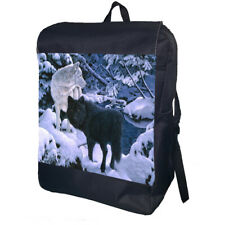 Black And White Wolves Backpack School Bag Travel Daypack Personalised Backpack