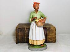 "Vintage Homco Figurine African American Woman Holding Basket of Vegetables 10"""