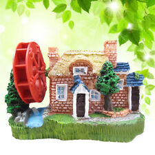 Aquarium Landscaping Ornament Fish Tank  Decorations Cottages House Windmill,