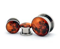 Pair of Screw on Harvest Moon Picture Plugs gauges 16g thru 1 inch