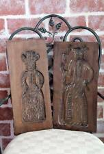 "Vintage Pair Carved Wooden Cookie Mold Primitive Couple app 17.75"" x 8.75"" x 1"""