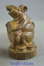 Collectable Handwork Boxwood Carve Mouse Hold Wealthy Happiness Figure Statue