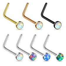 2.5mm Opal Stone Flat Top Surgical Steel Nose L-Bend Ring Stud 20g