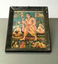 VINTAGE INDIAN. ORIGINAL OLD PRINT OF HINDU MYTHOLOGY, AUTHENTIC ART DECO FRAME