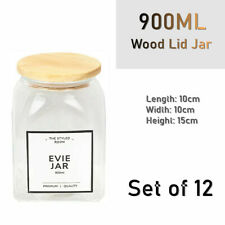 12 X 900ml Square Glass Food Storage Jar Set Canister With Airtight Wooden Lid