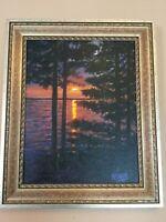 "Beautiful  Original Oil O/C Painting ""Maine Sunset"" Signed Krasny & Framed"