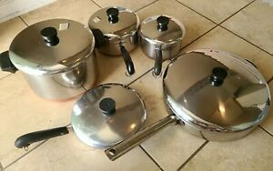 Revere Ware Stainless & Copper Bottom Cookware 10 Piece Set