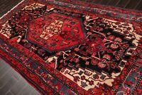5'6'' x 10'2'' Vintage Runner Hand Knotted Wool Hamadaan Oriental Area Rug Red