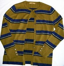 Next Metallic Stripe Ribbed Button Cardigan khaki green long sleeved Size 16 vgc