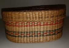 Native American Shawnee Woven Basket with Handled Lid