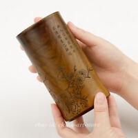 Chinese Mao Bamboo Carving Brush Plum Blossom Flower Magpie Bird Pot Pencil Vase
