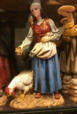 1 pastore landi 13 cm donna con legna e gallina presepe crib shereped