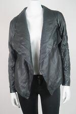 MINT$105 *BB DAKOTA* Black Open Front Long Sleeve FAUX LEATHER JACKET S 4 6