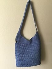 "THE SAK Medium Blue Crochet Knit Flat Bottom Shoulder Bag 13.5""x 12x 2.25"""