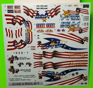 USA 1 Monster Truck Flag 1990 Chevy Silverado Pickup 1/25 Waterslide Decal Sheet