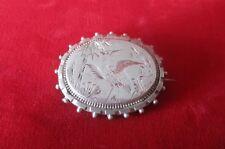 Antique Victorian Sterling Silver Locket  Brooch