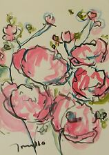 JOSE TRUJILLO 22x30 LARGE Impressionism Watercolor Painting ORIGINAL Red Flowers