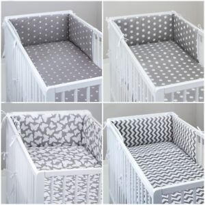 COT BUMPER padded filled straight for cot / cot bed GREY STARS CHEVRON DOTS PINK