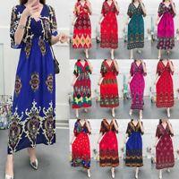 Women Female Vintage Print Summer V Neck Short Sleeve Bohemian Long Maxi Dress