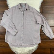 Bryn Walker Women's Size Medium Purple Linen Tunic Top Shirt Button Up *FLAW*