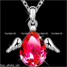 RED HEART ANGEL WINGS CRYSTAL NECKLACE PENDANT JEWELRY BEST FRIEND GIFT FOR WIFE
