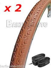 N°2 Copertone 700 X 28C (28 - 622) 28 x 1-5/8 x 1-1/8 MARRONE Bici + N°2 Camera