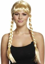 Adulte Blonde Long Tresse Bavarois beauté Perruque New Fancy Dress Pigtail Oktoberfest