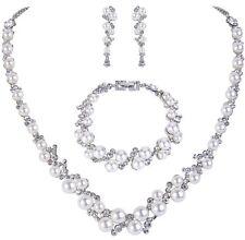 Bridal Wedding Necklace Earring Bracelet Set Ivory Pearl Swarovski Crystal