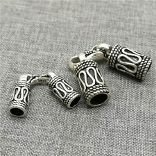 925 Sterling Silver Braided Cord End Cap with Hook Clasp