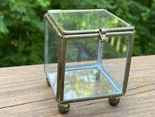 New listing Mini Green House Tabletop Glass & Brass Miniature Succulent Garden Terrarium