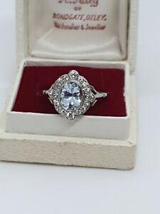 ART DECO Style Platinum Aquamarine  & Diamond Ring Size M