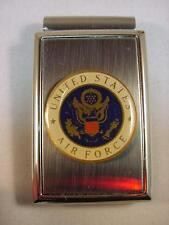 USAF US AIR FORCE POLISHED SATIN CHROME MONEY CLIP NEW