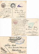 España. 3 Postales con sellos Alfonso XIII y con censura en llegada