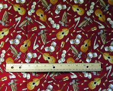 Blank Textiles 44 x 46 piece fabric cotton Quilting Musical Instruments red