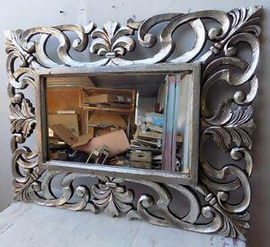 Mirror Baroque Wooden Inlaid CMS 120x90 Silver Antiqued Model Valencia